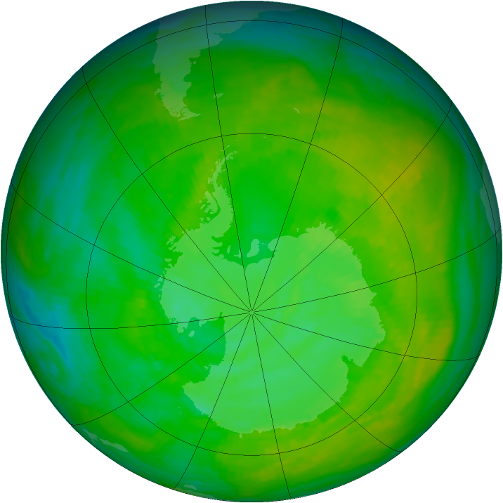 Antarctic ozone map for 14 December 1991