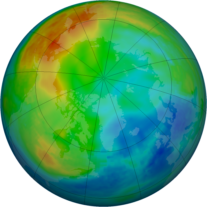 Arctic ozone map for 15 December 1991