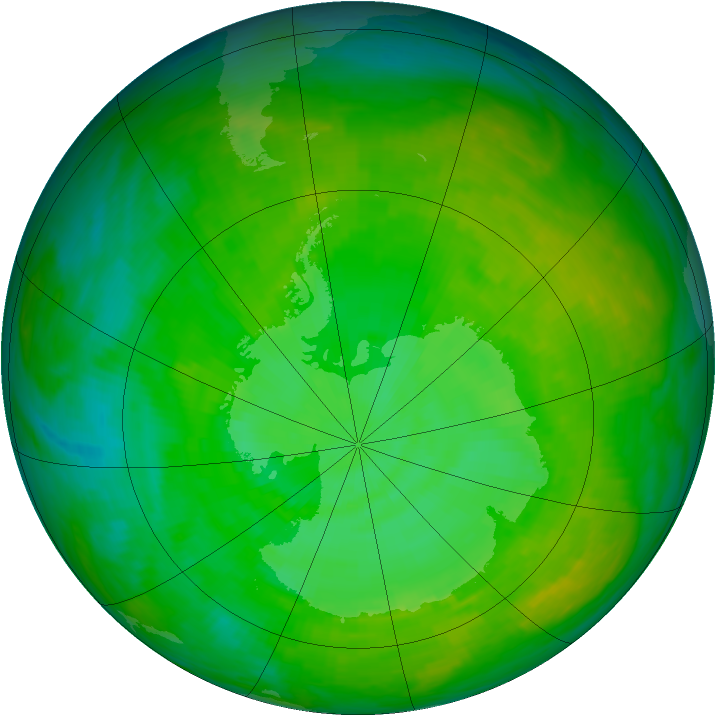Antarctic ozone map for 15 December 1991