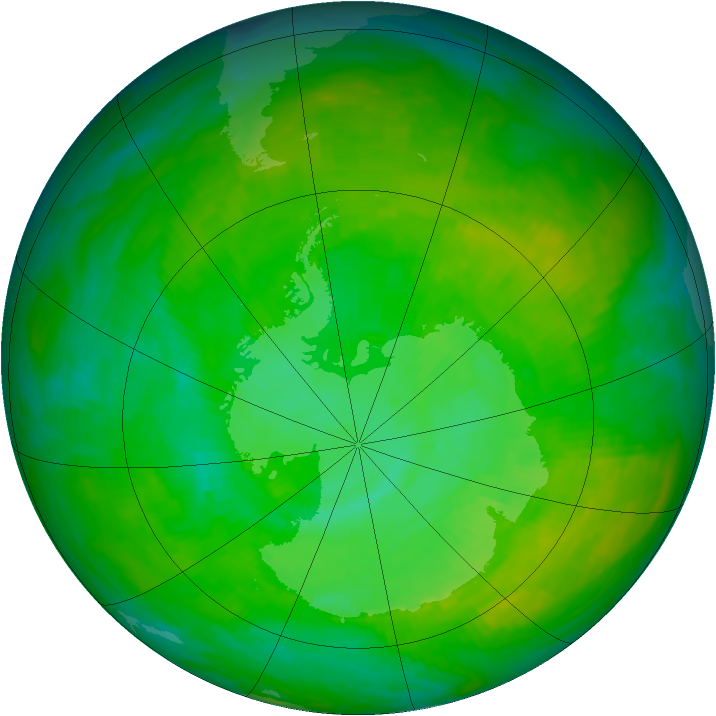 Antarctic ozone map for 18 December 1991