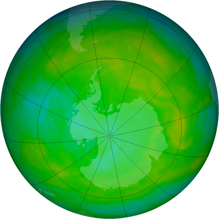 Antarctic ozone map for 20 December 1991