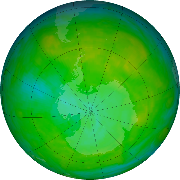 Antarctic ozone map for 21 December 1991