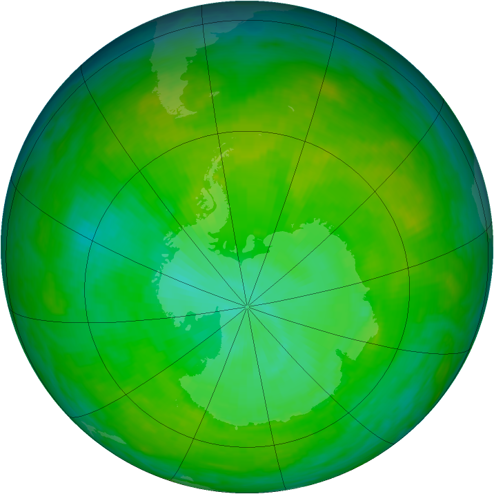 Antarctic ozone map for 22 December 1991