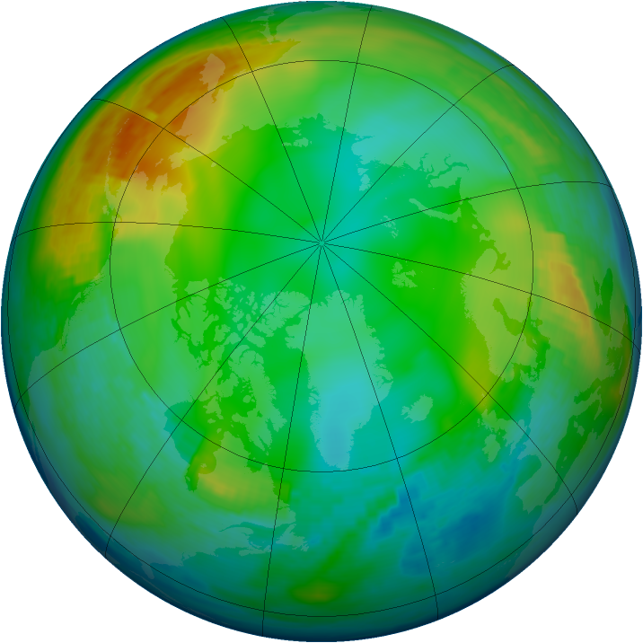 Arctic ozone map for 23 December 1991