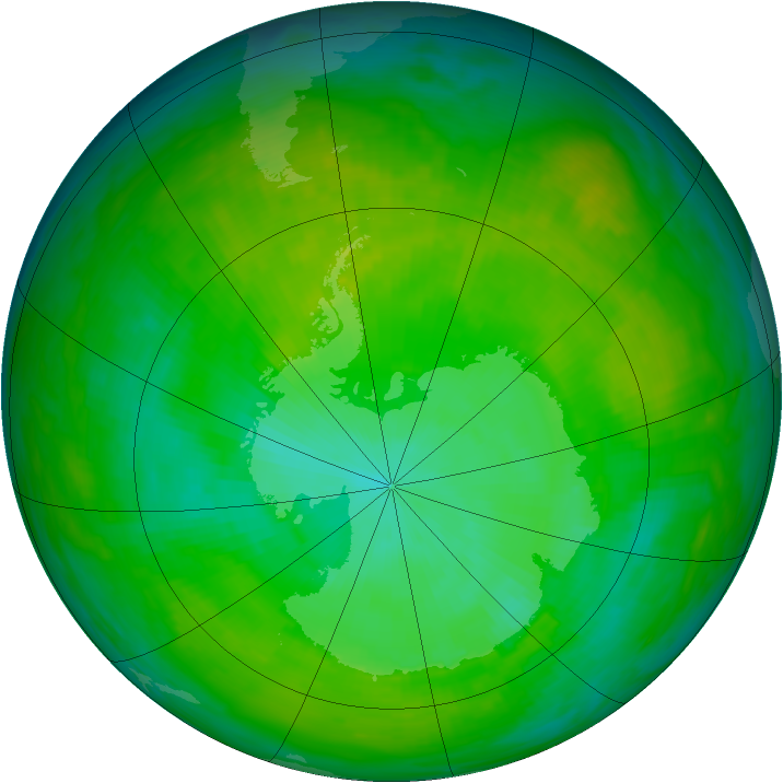 Antarctic ozone map for 23 December 1991