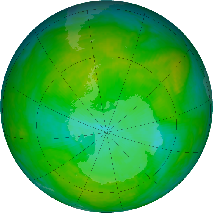 Antarctic ozone map for 24 December 1991