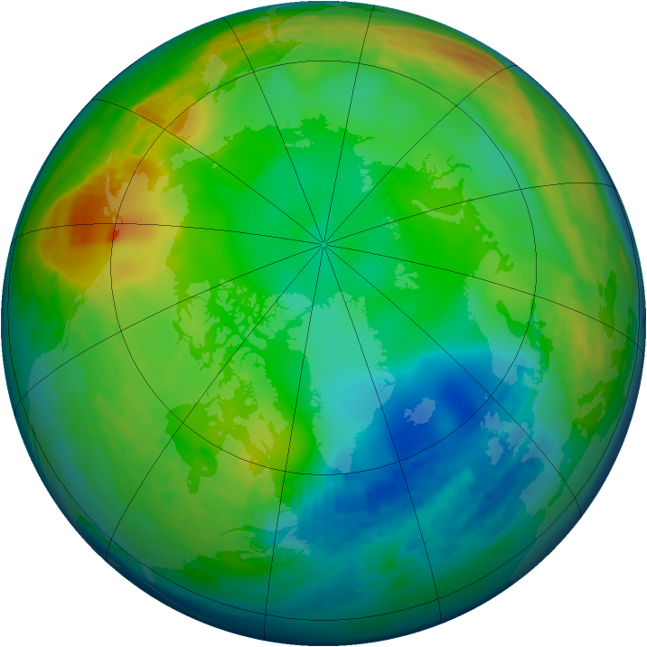 Arctic ozone map for 25 December 1991