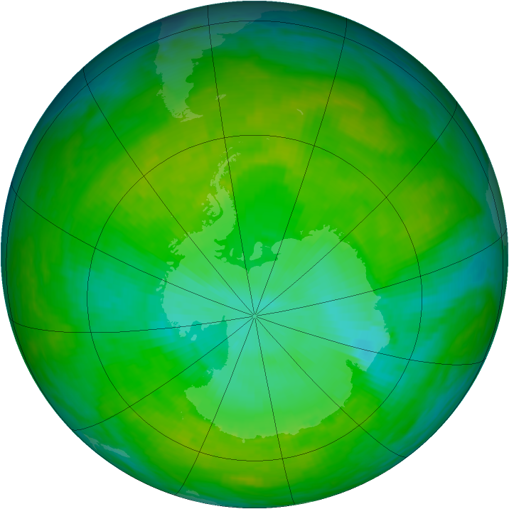 Antarctic ozone map for 25 December 1991