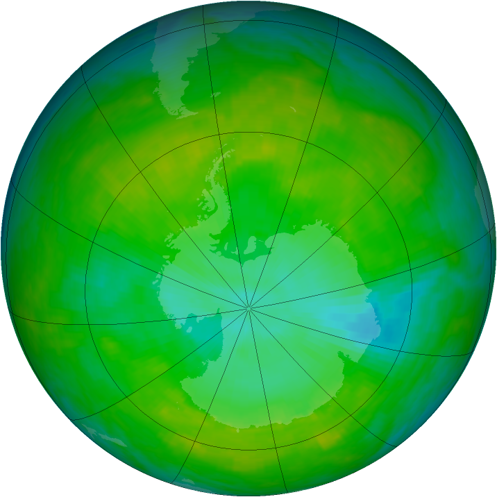 Antarctic ozone map for 26 December 1991