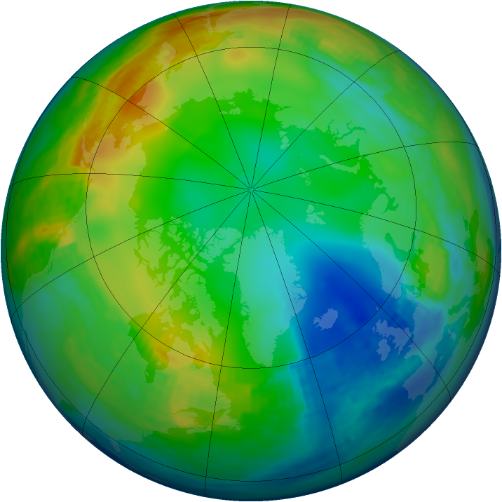 Arctic ozone map for 27 December 1991