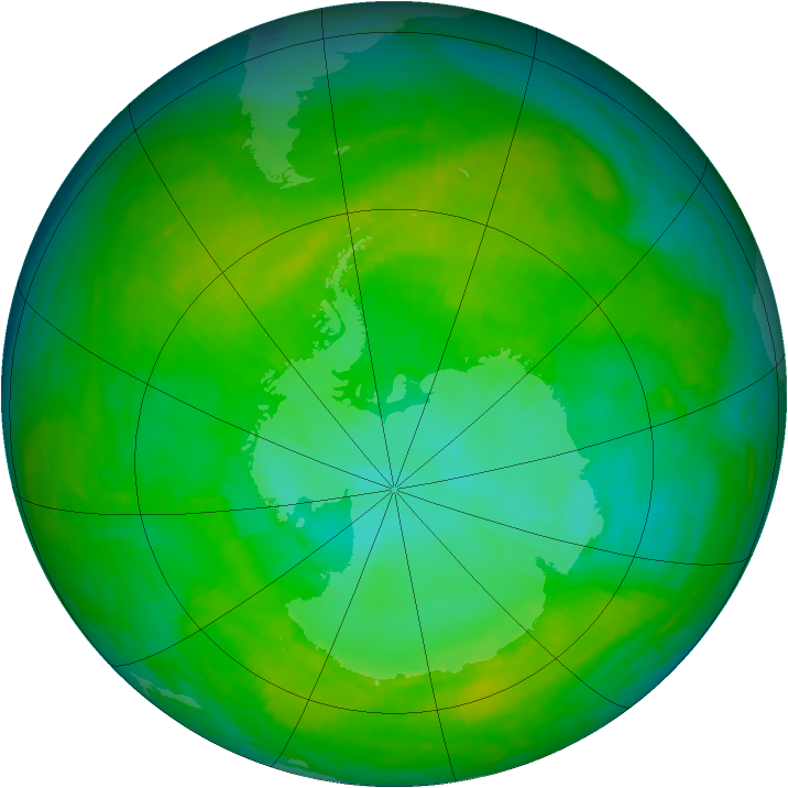 Antarctic ozone map for 27 December 1991