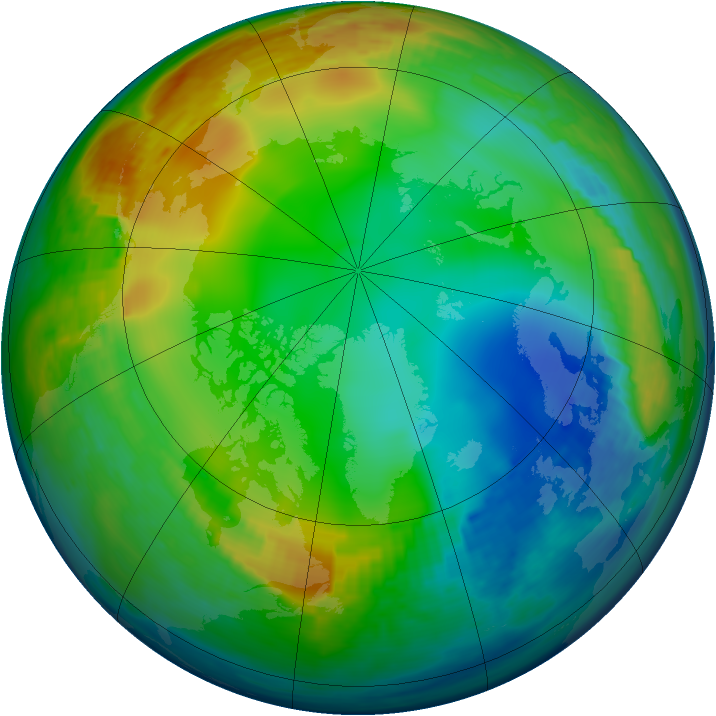Arctic ozone map for 28 December 1991