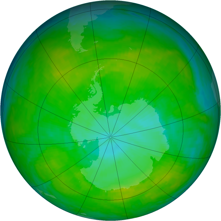 Antarctic ozone map for 28 December 1991