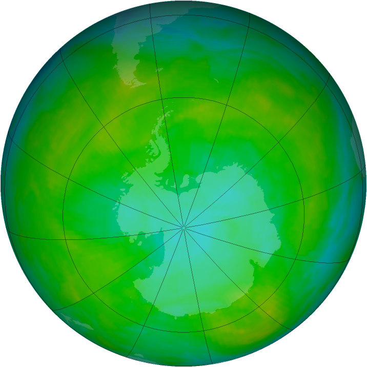 Antarctic ozone map for 30 December 1991