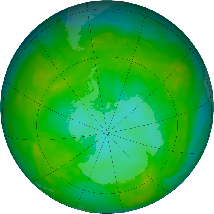 Antarctic ozone map for 31 December 1991