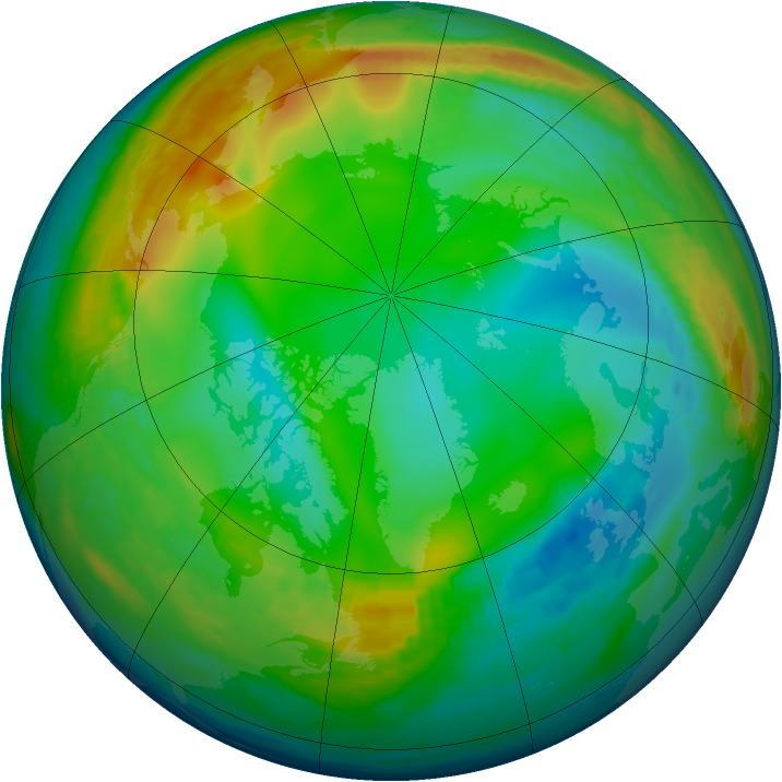 Arctic ozone map for 01 January 1992