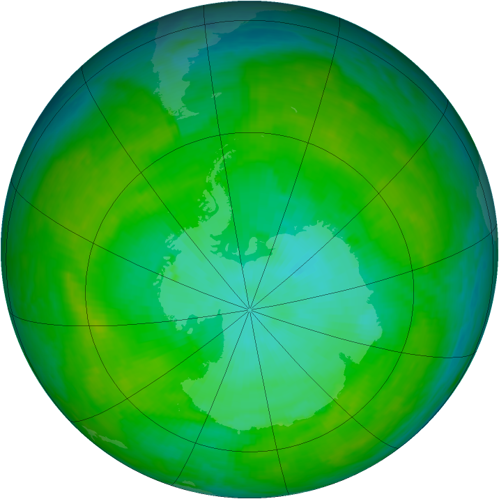 Antarctic ozone map for 01 January 1992