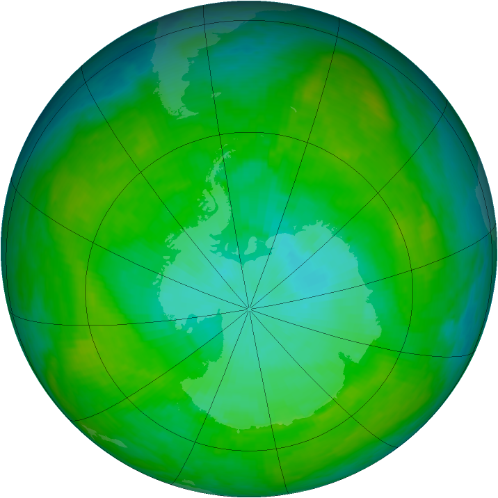 Antarctic ozone map for 02 January 1992