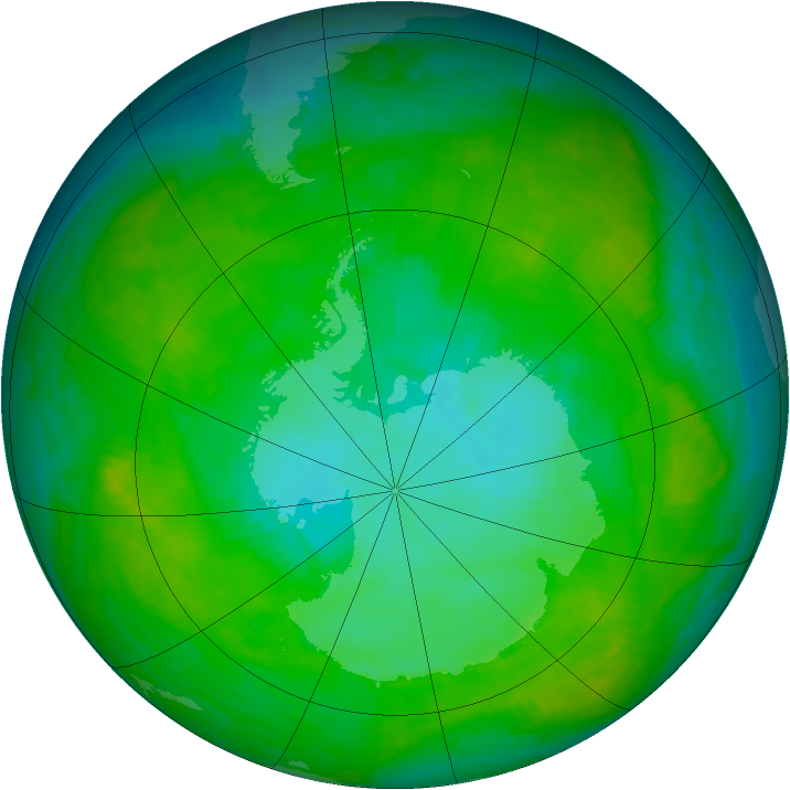 Antarctic ozone map for 03 January 1992