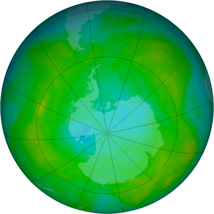 Antarctic ozone map for 04 January 1992