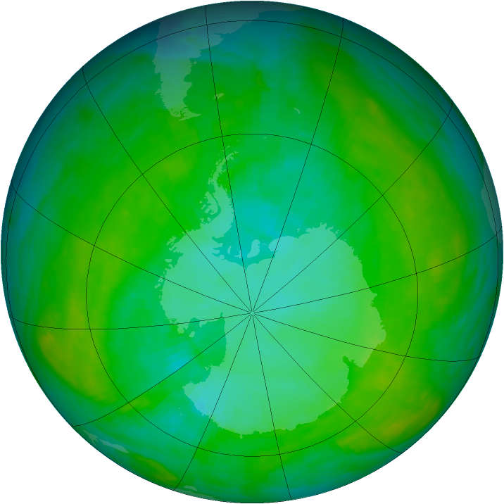 Antarctic ozone map for 06 January 1992