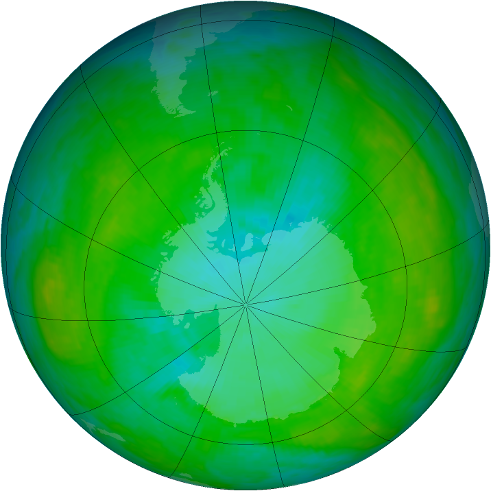 Antarctic ozone map for 07 January 1992