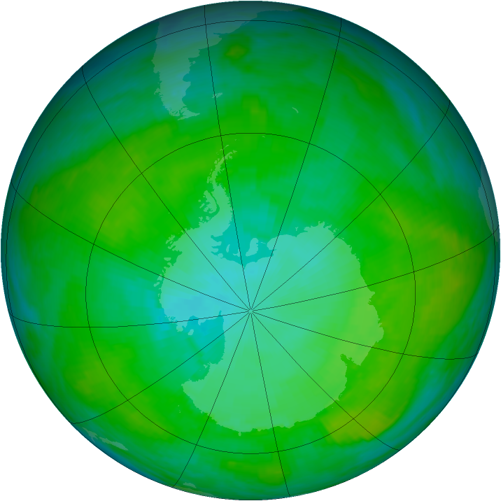 Antarctic ozone map for 10 January 1992