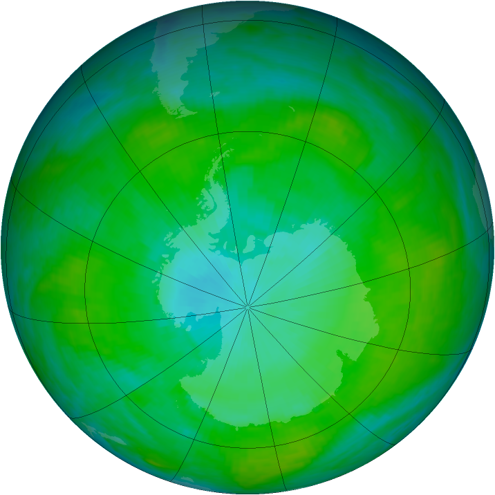 Antarctic ozone map for 12 January 1992