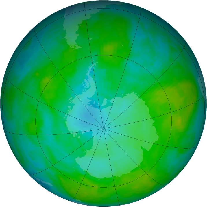 Antarctic ozone map for 16 January 1992