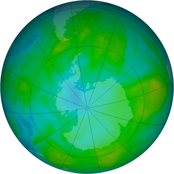 Antarctic ozone map for 17 January 1992