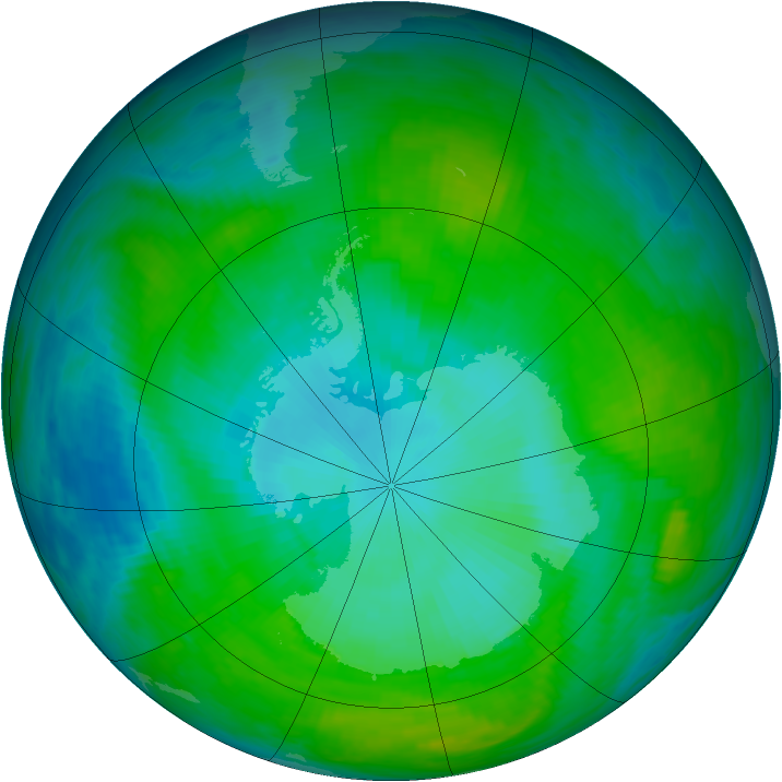 Antarctic ozone map for 20 January 1992