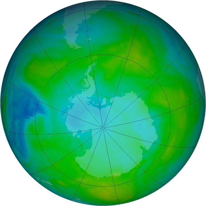 Antarctic ozone map for 21 January 1992