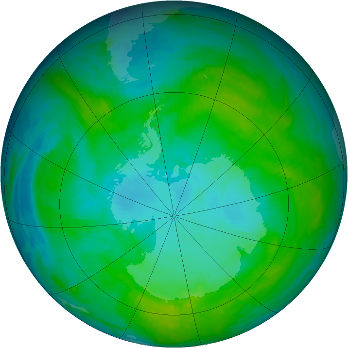 Antarctic ozone map for 22 January 1992