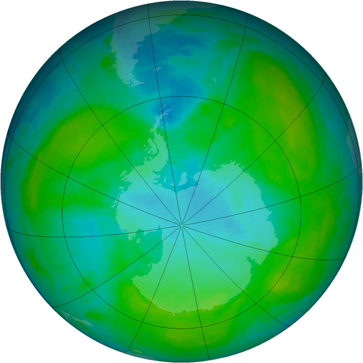 Antarctic ozone map for 24 January 1992