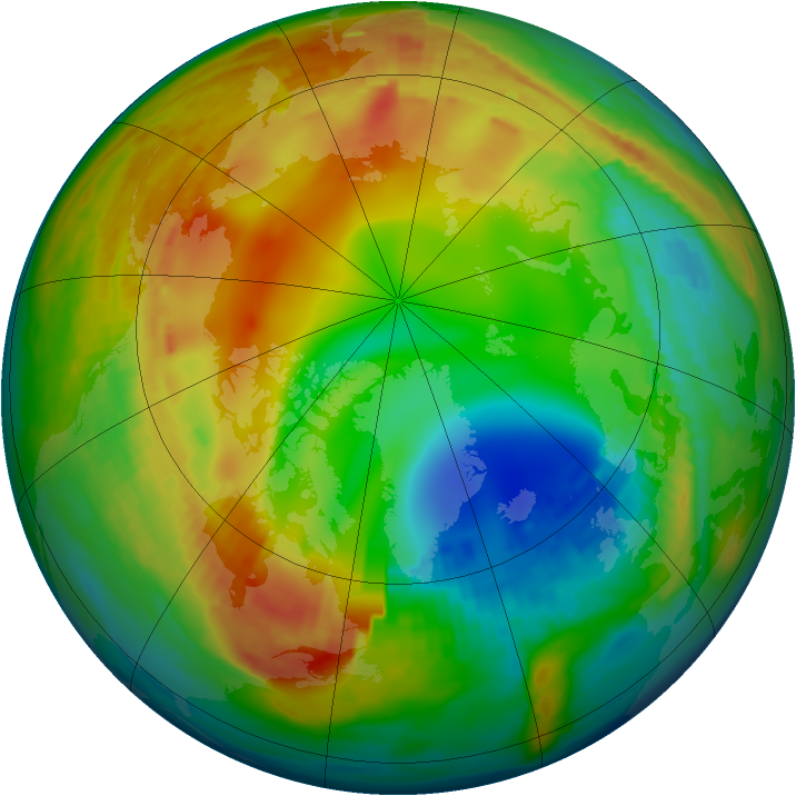 Arctic ozone map for 26 January 1992