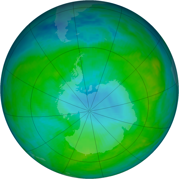 Antarctic ozone map for 26 January 1992