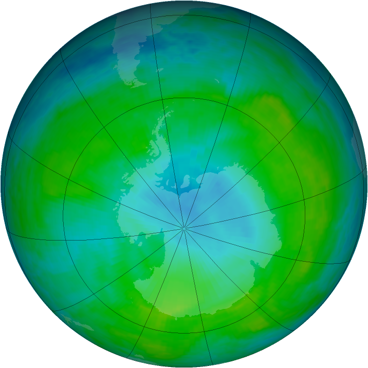 Antarctic ozone map for 27 January 1992