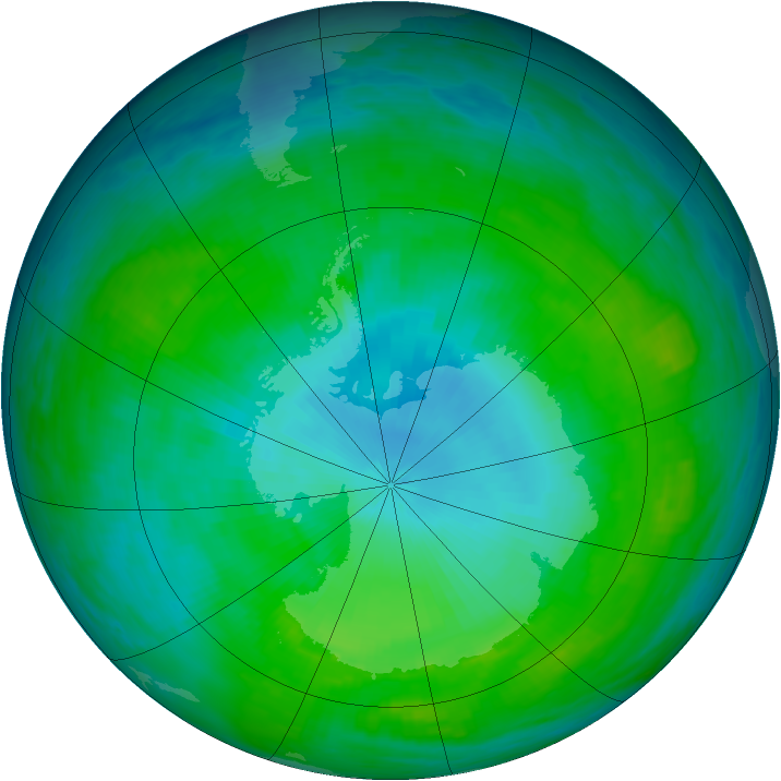 Antarctic ozone map for 28 January 1992