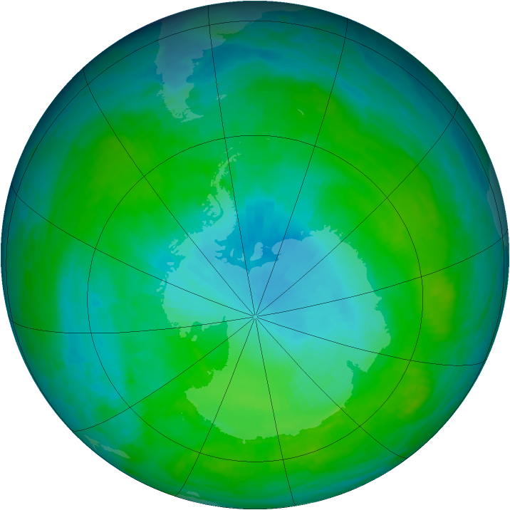 Antarctic ozone map for 29 January 1992