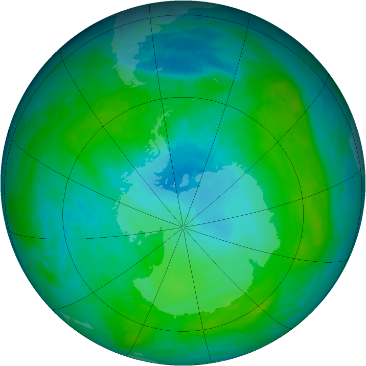 Antarctic ozone map for 31 January 1992