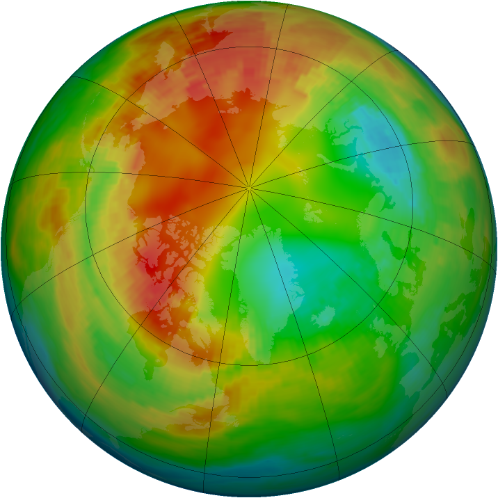 Arctic ozone map for 12 February 1992