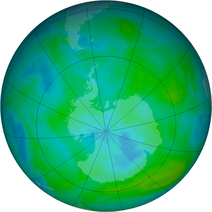 Antarctic ozone map for 25 February 1992