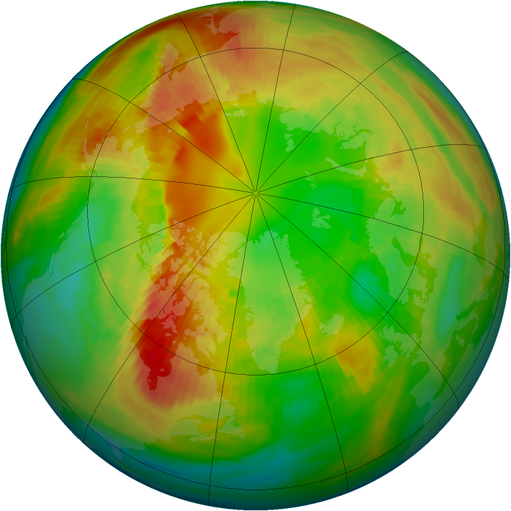 Arctic ozone map for 27 February 1992