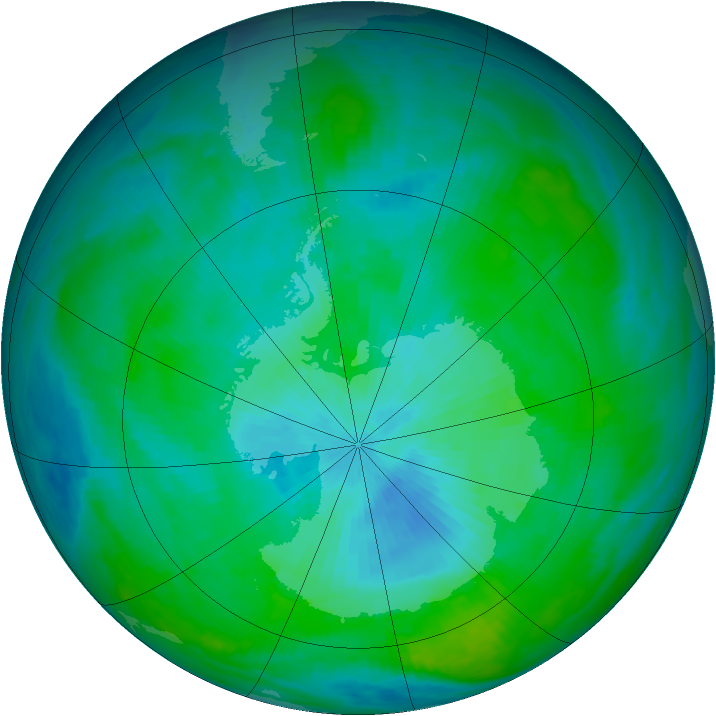 Antarctic ozone map for 27 February 1992