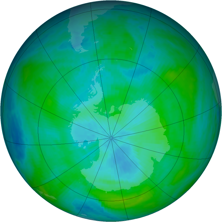 Antarctic ozone map for 28 February 1992