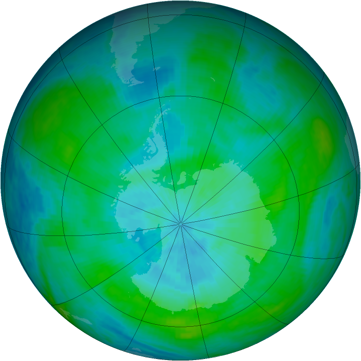 Antarctic ozone map for 29 February 1992