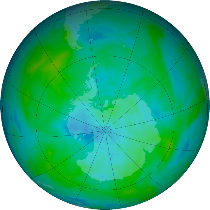 Antarctic ozone map for 02 March 1992
