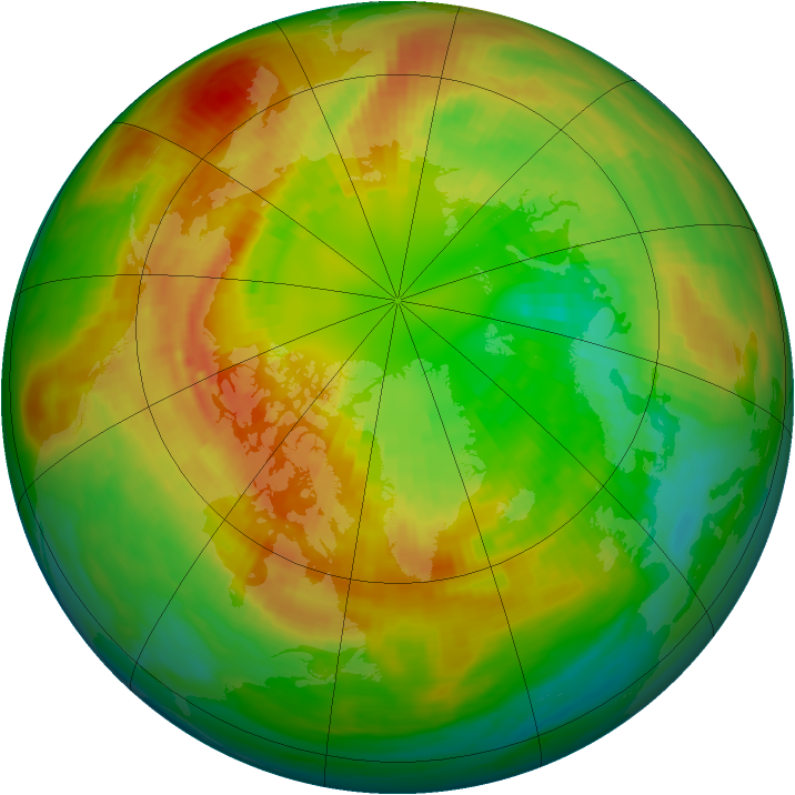 Arctic ozone map for 05 March 1992