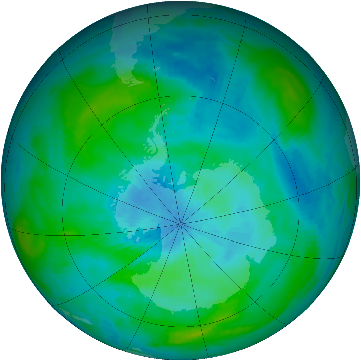 Antarctic ozone map for 05 March 1992
