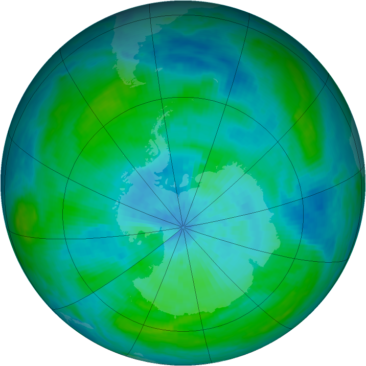 Antarctic ozone map for 06 March 1992